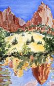 Zion Reflection, watercolor by Barbara Strelke
