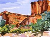 Canyon de Chelly, watercolor by Barbara Strelke