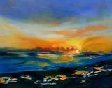 Puerto Penasco Sunset, oil on canvas by Barbara Strelke