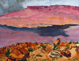 Desert Storm with Vermilion Cliffs, watercolor by Barbara Strelke