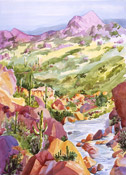 Romero Canyon Again, watercolor by Barbara Strelke