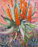 Aloe in Orange, oil on canvas by Barbara Strelke