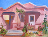 Barrio House-Tucson, oil on canvas panel by Barbara Strelke