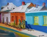 El Presidio Streetscape, oil on canvas panel by Barbara Strelke