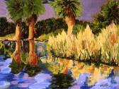 Oasis in the Desert, oil on Masonite by Barbara Strelke