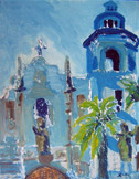 Rainy Day at St. Augustine Cathedral, oil on canvas by Barbara Strelke
