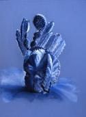 Cactus Garden-Study in Blue, pastel by Barbara Strelke