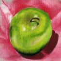 Green Apple Study #2, pastel by Barbara Strelke