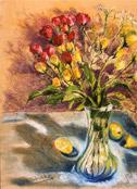 Roses and Lemons, pastel by Barbara Strelke