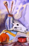 Still Life with Skull, watercolor by Barbara Strelke