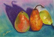 Three Pears, pastel by Barbara Strelke